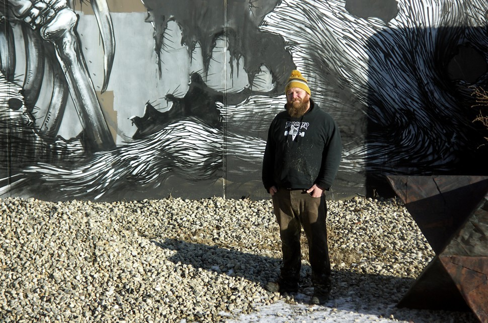 The ROA mural again, with head brewer Brian Buckman in the frame for scale. Thats the aftermath of a yeast spill on his hoodie.