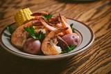 The shrimp boil factors roasted corn and potatoes into a rich, slightly vegetal-tasting broth. - LETTUCE ENTERTAIN YOU