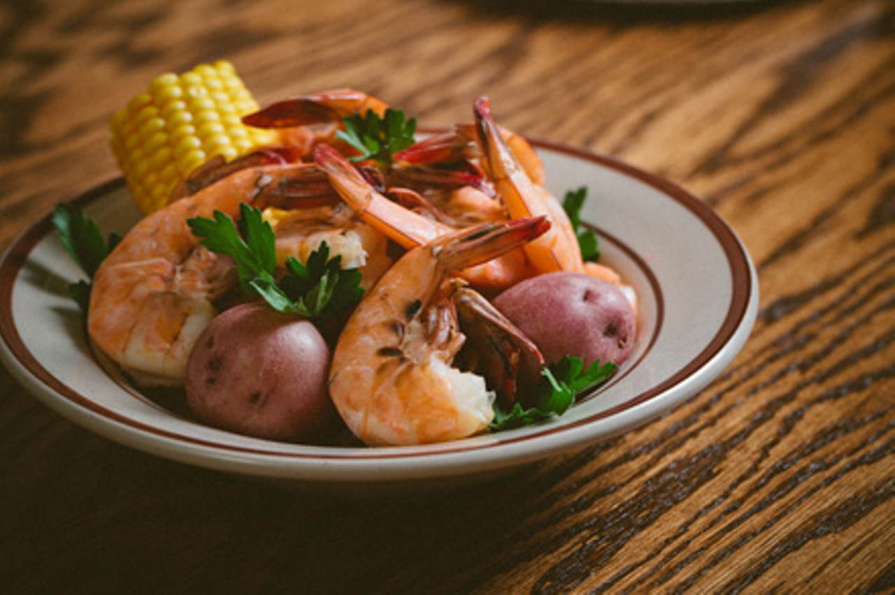 The shrimp boil factors roasted corn and potatoes into a rich ...