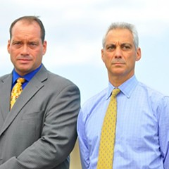 The six opponents of Tenth Ward alderman John Pope (left) say he's too cozy with Mayor Rahm Emanuel.