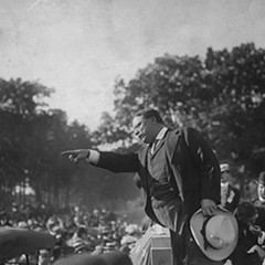 Theodore Roosevelt campaigning in the 1912 presidential election