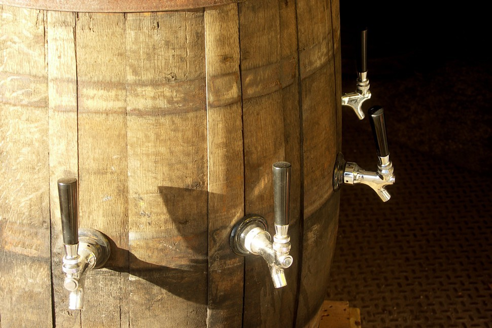 This barrel isnt used to age beer--its rigged to pour from eight different kegs, and sees service at CHAOS parties.