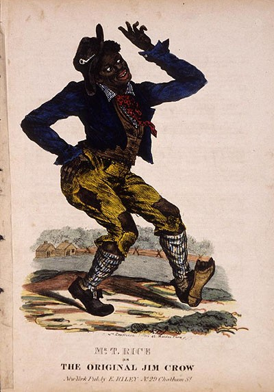Thomas Daddy Rice, originator of the minstrel show, as Jim Crow