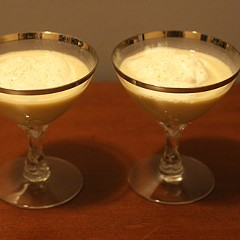 Three-week-old eggnog (left) and year-old eggnog (right) look pretty much identical.