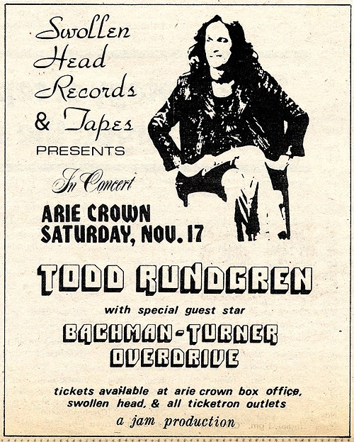 Todd Rundgren with Bachman-Turner Overdrive, Arie Crown, Nov 17, 1973