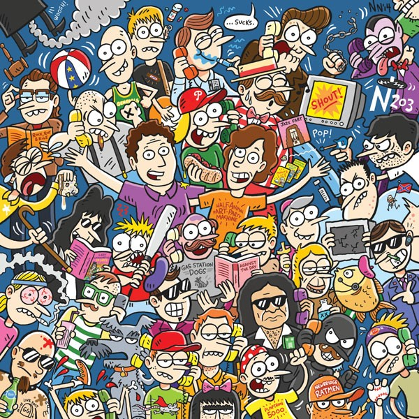 Tom Scharpling and Jon Wurster in cartoon form, surrounded by characters they've created for The Best Show over the past 15 years