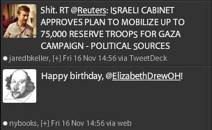 Tweets about war and birthdays go hand in hand