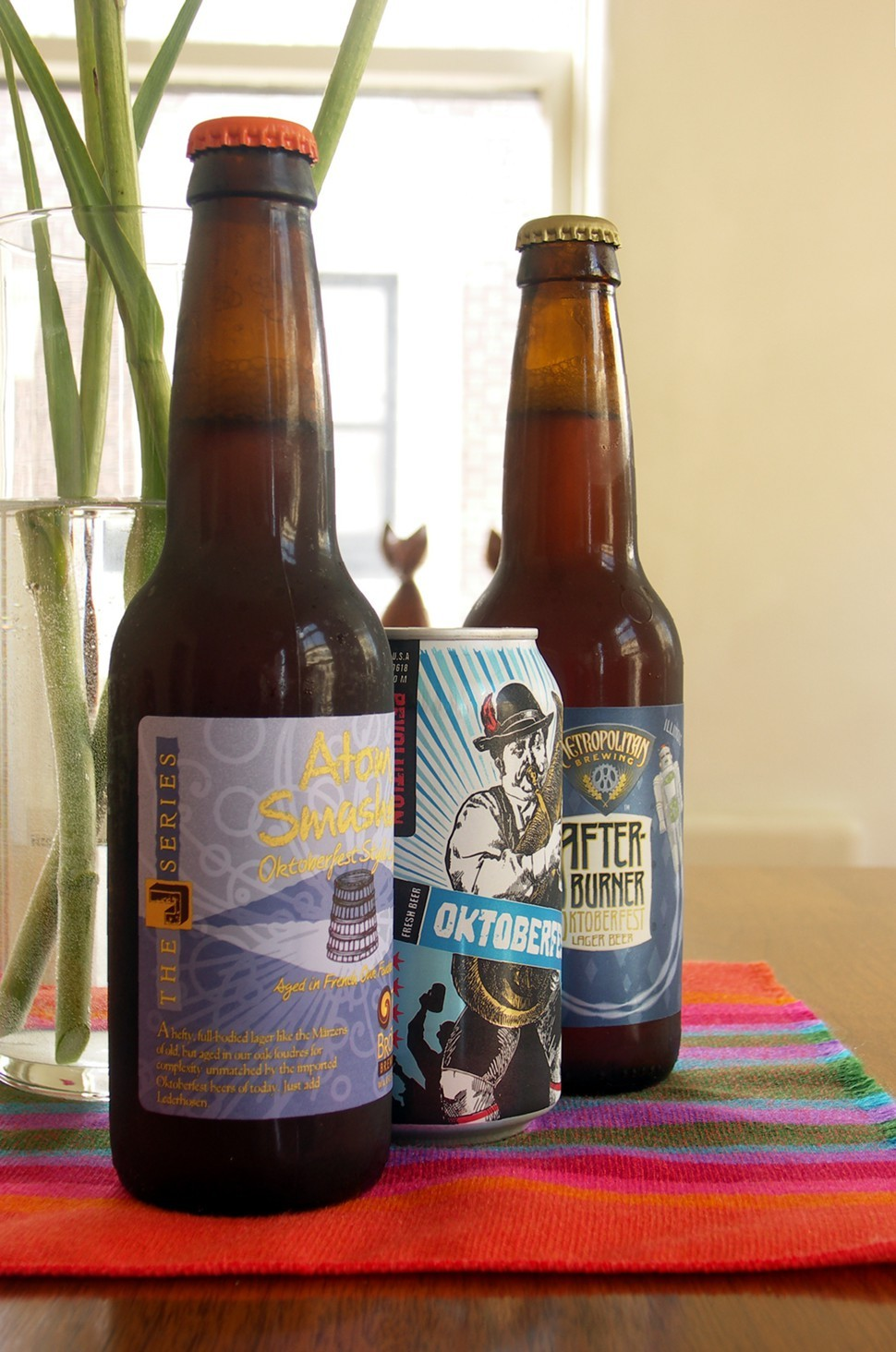 Two Brothers Atom Smasher, Revolution Oktoberfest, and Metropolitan Afterburner