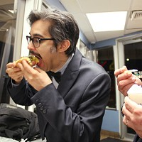 Two comedians out late, eating poorly