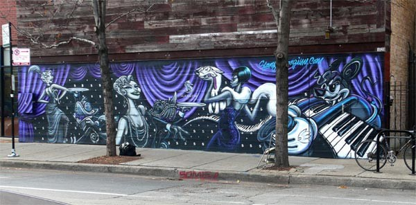 "Tyrue ""Slang"" Jones's mural for the Violet Hour, in process"
