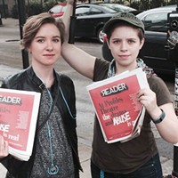 Actors hand out copies of the <em>Reader</em> in front of Profiles Theatre