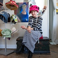 At her Rogers Park storefront Susan Hat, Susan Abelson creates hats from recycled materials