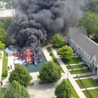 Chicago playground engulfed in flames captured on drone video