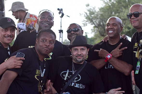 """Top row, left to right: Alan King, Tony Hatchett, Andre Hatchett, guest DJ Kevin Hedge, and Wayne Williams. Bottom row: Jessie Saunders and guest DJ """"Little"""" Louie Vega. - DAWN COLQUITT-ANDERSON"""
