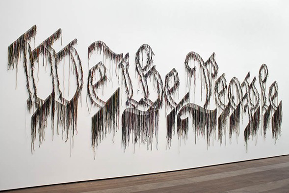 """""""The Freedom Principle"""" includes the 2011 installation We the People by Jamaica-born, New York-based artist Nari Ward. - GREGORY LARICO"""
