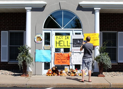 The scene outside lion killer Walter Palmer's dental office - ADAM BETTCHER/GETTY