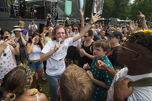 Jimmy Whispers at Pitchfork Music Festival prior to his 826Chi interview - LOGAN JAVAGE