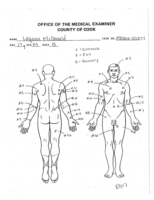 Laquan McDonald was shot 16 times. - COOK COUNTY MEDICAL EXAMINER