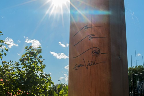 Eddie Vedder autographed the party dock's stage. - ANDREA BAUER