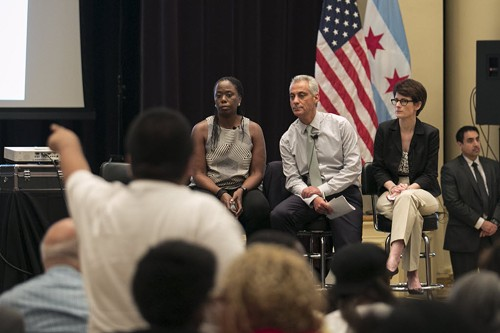 Mayor Rahm, flanked by former Daley administration appointees Carole Brown and Alexandra Holt - ASHLEE REZIN/SUN-TIMES MEDIA