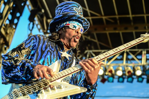 """Bootsy Collins is definitely in the running for """"best dressed at Riot Fest."""" Hell, he's in the running wherever he goes. - BOBBY TALAMINE"""