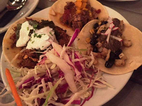 Tacos, left to right: beer-can chicken, brisket, root vegetable - JULIA THIEL