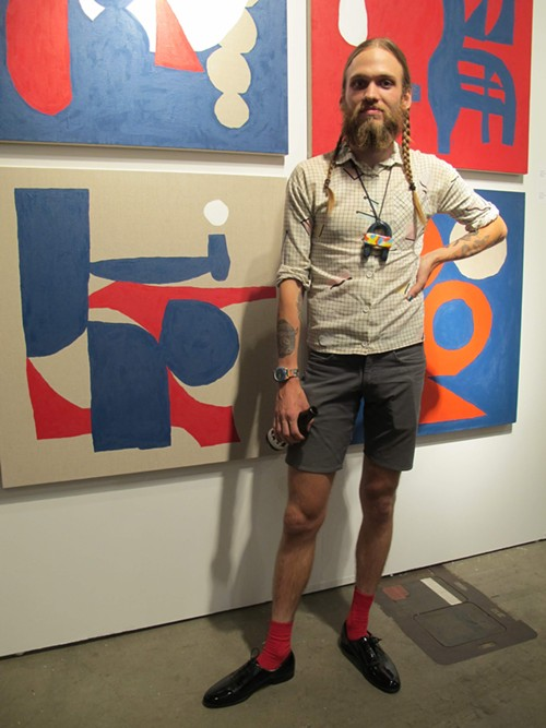 Artist Mike Paro wearing a necklace from his own line, Double Domus, which is sold at Tusk. - ISA GIALLORENZO