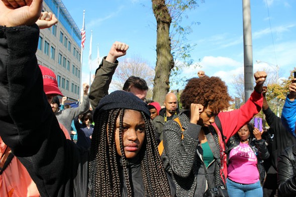 Black Lives Matter protesters gathered October 24 at Chicago Police Headquarters, 3501 S. Michigan, to demand more input with the IACP and an end to police brutality. - (TATIANA WALK-MORRIS)