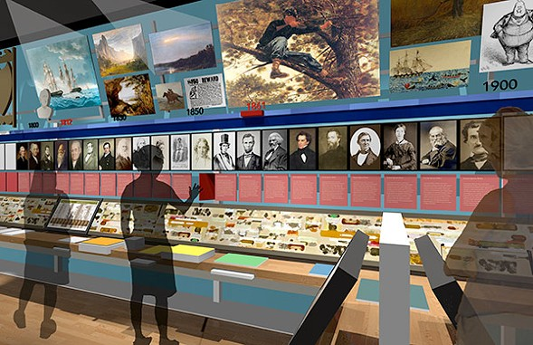 Visions for the museum include now-standard touchscreen displays. - AMERICAN WRITERS MUSEUM