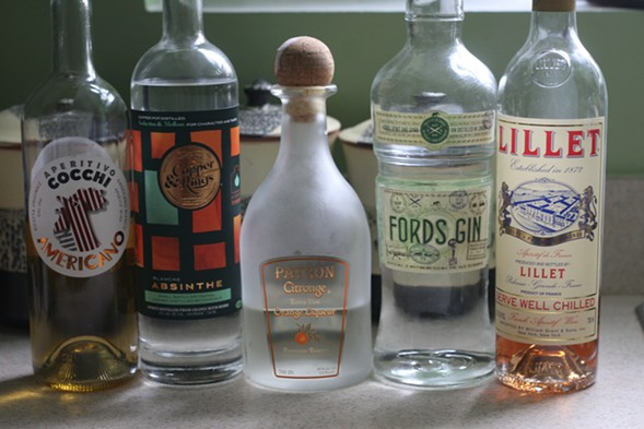 The ingredients for a Corpse Reviver 2 (plus an extra fortified wine) - JULIA THIEL