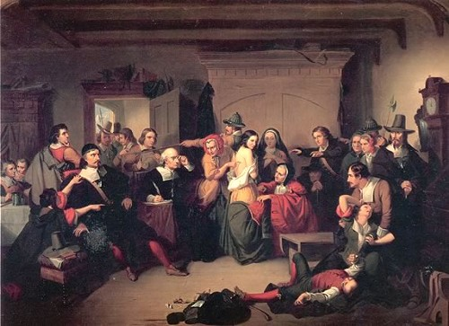 Examination of a Witch (1853) by T. H. Matteson, inspired by the Salem trials - COLLECTION OF THE PEABODY-ESSEX MUSEUM