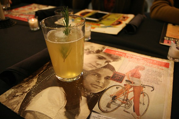 Toolan's radler with rosemary; the placemats were record covers with old Schwinn ads pasted on them. - JULIA THIEL