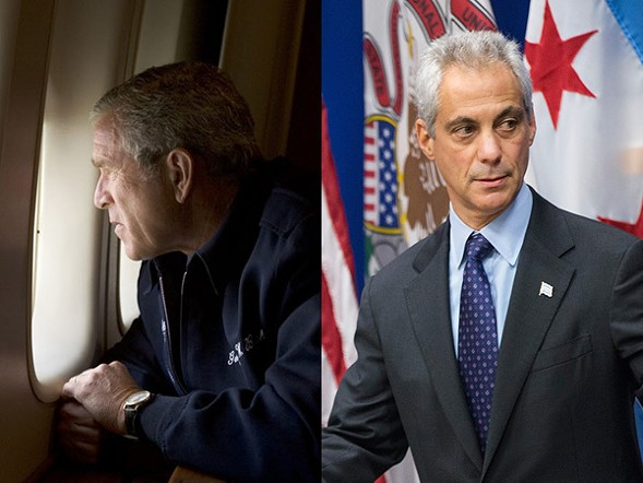 Former president George W. Bush surveys post-Katrina New Orleans; Mayor Rahm Emanuel surveys the crowd at last week's Laquan McDonald press conference. - PAUL MORSE/SCOTT OLSON