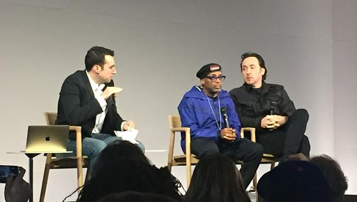 Spike Lee and John Cusack speak at a panel at an Apple Store in NYC. - RYAN SMITH