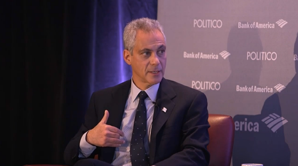 Rahm Emanuel during his interview with Politico - POLITICO