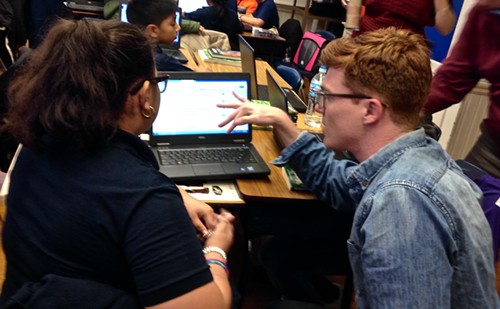 Beyrali Santiago consults with her editor, 826CHI volunteer Willie Filkowski. - AIMEE LEVITT