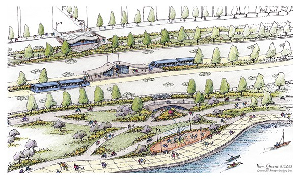 A vision of North Lake Shore Drive with rapid transit corridors and separated walking and biking paths published by 15 local civic organizations in July 2013. - THOM GREENE