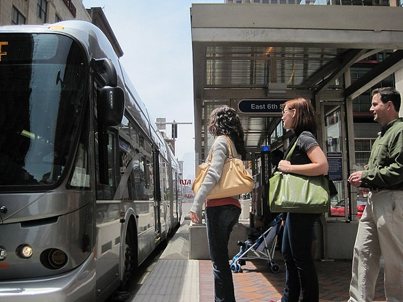 A boarding platform on Cleveland's HealthLine BRT route - GREATER CLEVELAND REGIONAL TRANSIT AUTHORITY