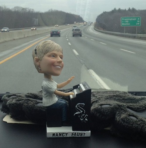 A Nancy Faust bobblehead accompanied the team on their drive to Boston. - COURTESY OF JOSH KANTOR
