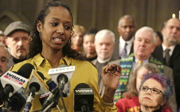 Wheaton College professor Larycia Hawkins at a January 6 press conference. - AP/M. SPENCER GREEN