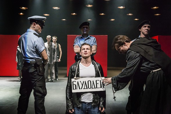Alexander Matrosov, Peter Rykov and Alexander Arsentyev in the Cheek by Jowl/Puskin Theatre production of Measure for Measure, which kicks off Shakespeare 400 Chicago - JOHAN PERSSON
