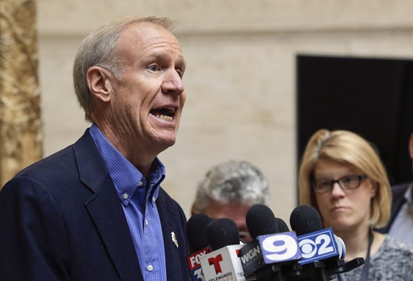 Governor Bruce Rauner announcing his support for a proposal by top Illinois Republicans for a state takeover of Chicago Public Schools. - AP/TERESA CRAWFORD