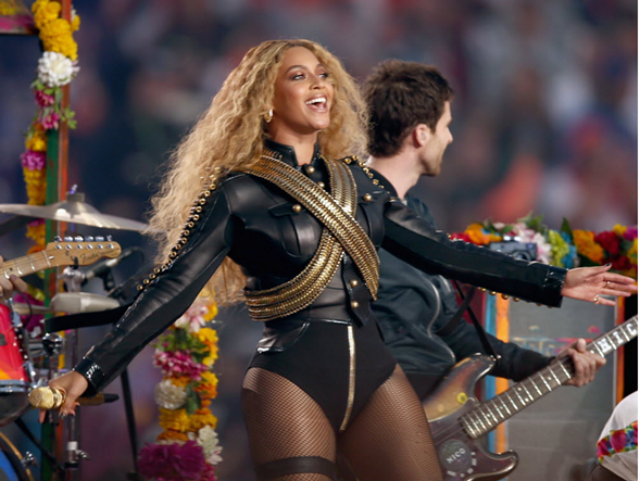Beyonce performed onstage during the Super Bowl 50 Halftime Show Sunday. - MATT COWAN/GETTY IMAGES