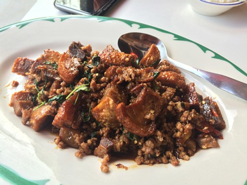 Phat ka-phrao mu krop (spicy basil stir-fry of crispy pork belly) at Tom Yum Cafe - MIKE SULA