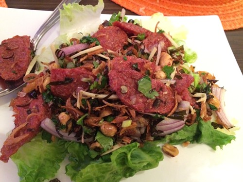Nam tod sa mun pa (pork preserved herb salad), Paula's Thai Kitchen - MIKE SULA