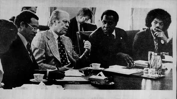 """Under President Gerald Ford, """"Negro History Week"""" became Black History Month in 1976. Back when Jesse Jackson (far right) had an Afro. - SUN-TIMES ARCHIVES"""