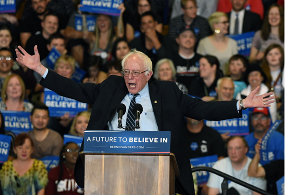 Democratic presidential candidate Bernie Sanders at a rally in Las Vegas Sunday - ETHAN MILLER/GETTY IMAGES