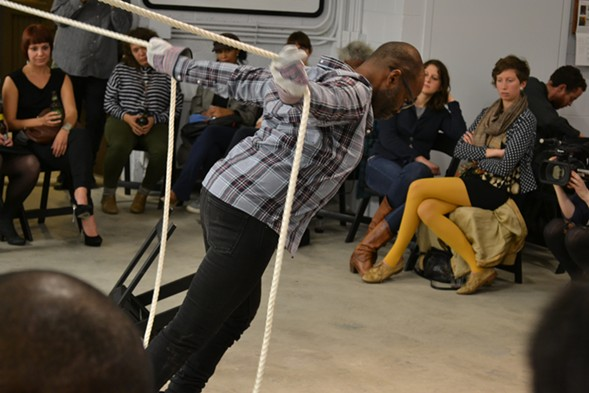 Baraka de Soleil pulling ropes forward during Start a Movement End the Movement at Gray Arts Center, 2012 - COURTESY OF EXTINCT ENTITITES