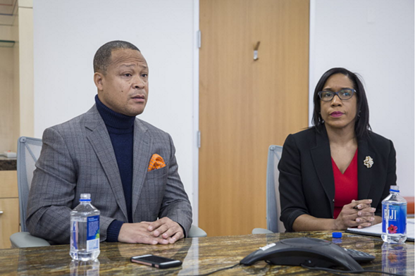 Democratic state rep Ken Dunkin, under fire for breaking ranks, and primary challenger Juliana Stratton - RICH HEIN/SUN-TIMES