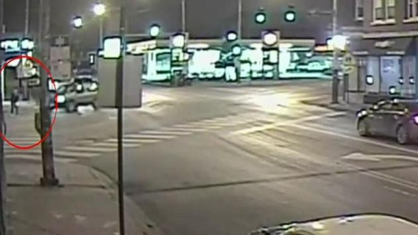 Still from speed camera footage released by the Chicago Police Department showing Christopher Sanchez being fatally struck. - JOHN GREENFIELD